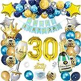 30 Cumpleaños Globos Decoracion, SWPEED Marino Azul Oro globos 30 Cumpleaños Decoracion Hombre y Mujer, Happy Birthday Decoracion 30, Globos de cumpleaños 30, Decoracion Fiesta 30 años Cumpleaños