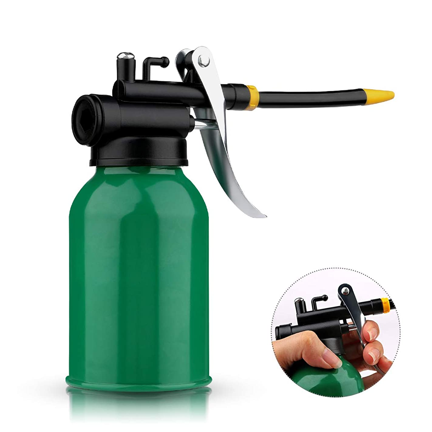 Oil Pump Can, Yebeauty Green Metal Pump Oiler Can, High Pressure Pump Oiler with Flexible Spout for Heavy Duty Fixing Cleaning and Lubricants Grease
