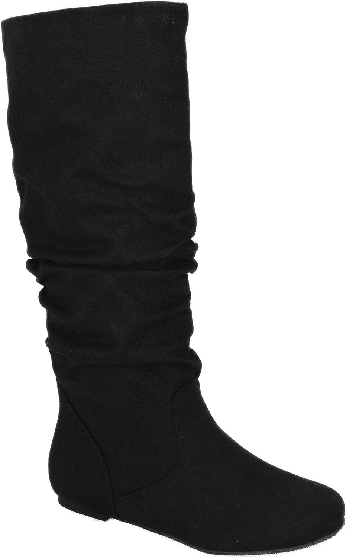 Soda Shoes Women Flat Slouchy Basic Knee High Boots Slip on Flat Heel Zuluu-S