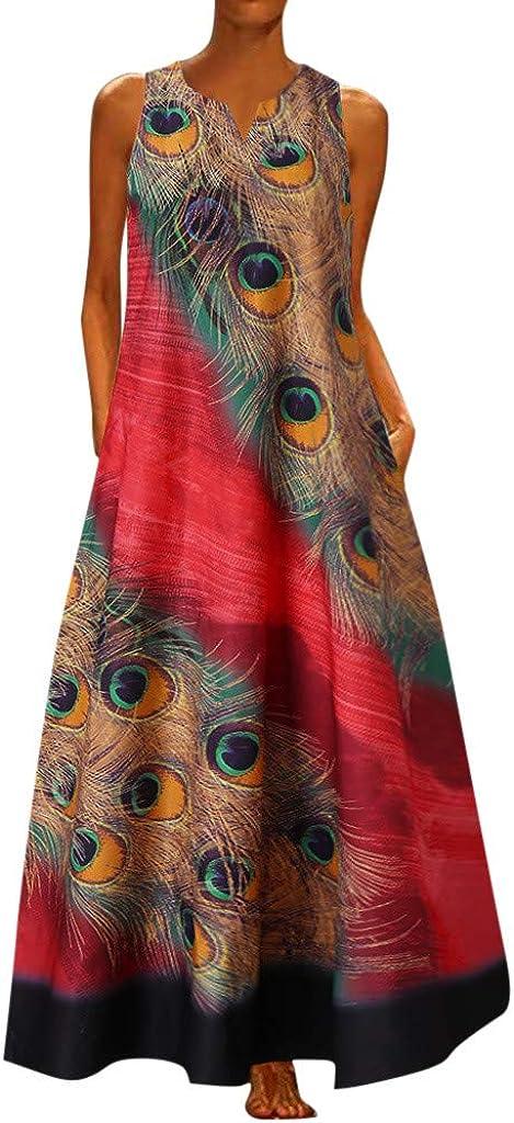 GCETTIC Womens Dresses Butterfly Printed Long Maxi Dress Sleeveless Summer Casual Beach Party Tank Dress