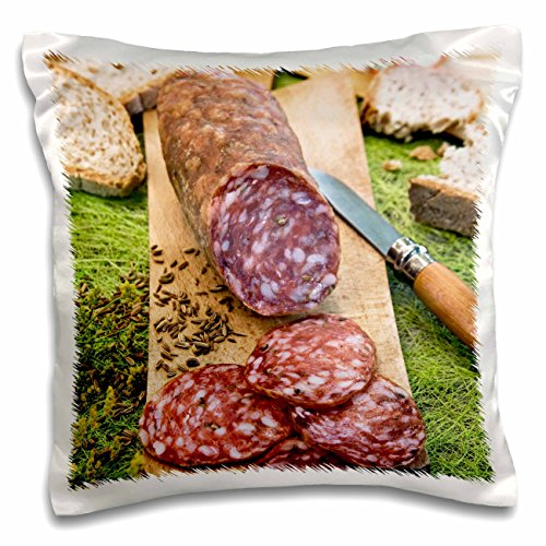 3dRose Cuisine, Finocchiona, Tuscan Salami, Florence, Italy-Eu16 Nto0465-Nico Tondini Pillow Case 16 x 16