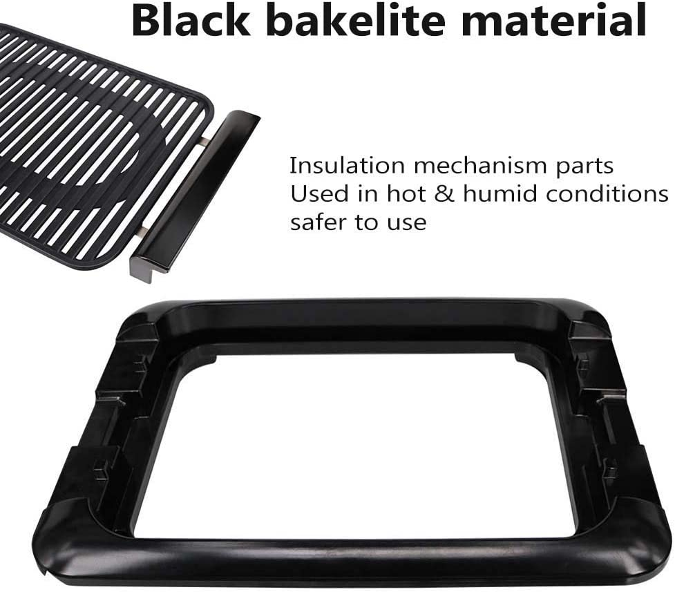 CCLLA Polyvalent BBQ Portable intérieur Gril extérieur sans fumée Non-Stick électrique-Griddles, Surface en céramique Amovible Lavable, Noir Black
