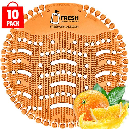 Urinal Screen Deodorizer (10 PACK) - Scent Lasts for Up to 5000 Flushes – Anti-Splash & Odor Neutralizer – Ideal for Bathrooms, Restrooms, Office, Restaurants, Schools – Orange Citrus Fragrance