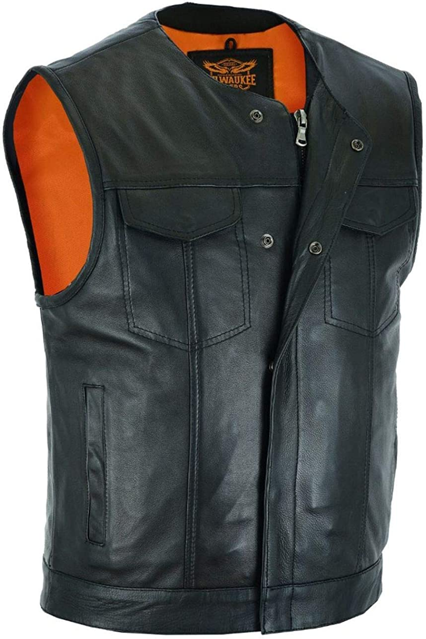 Mens Motorcycle Collarless Orange Liner outside Exterior Gun pocket Naked cow Hide leather vest Single panel (Regular, numeric_40)