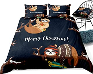 ADASMILE A & S Sloth Bedding Set Christmas Duvet Cover Lazy Sloth with Merry Christmas Words Cartoon Print for Kids, Decor...