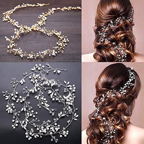 Homeofying 35/50/100 cm Serre-tête de mariée en fausse perle strass pour cheveux bouclés et épais