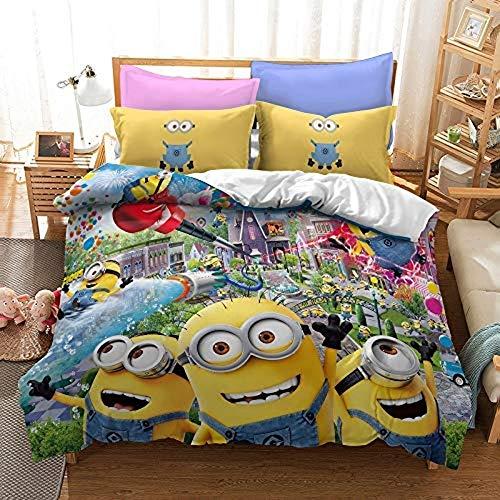 DWSM Minions - Juego de cama infantil (microfibra, con funda de edredón y 2 fundas de almohada), diseño de Minions en 3D, 220 x 240 cm