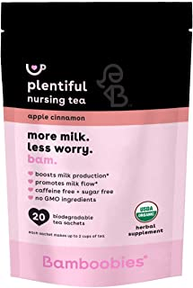 Bamboobies Pregnancy Tea for Nursing Support | 20 Tea Bags | Apple Cinnamon | Boosts Milk Production | Organic, Non GMO, C...