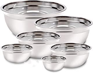 Stainless Steel Mixing Bowls with Lids Set, Reusable Silicone Stretch Lids Measuring Cups Spoons Metal Nesting Bowls Size ...