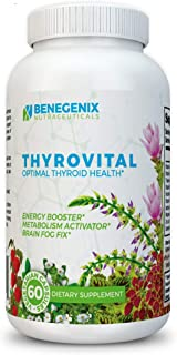 THYROVITAL® Pure Thyroid Support Supplement: Weight Loss, Energy, Focus, Nutrition, Adrenal Support - Metabolism Booster: D3 Iodine Selenium Zinc Copper Ashwaganda Root, L Tyrosine - GMP Protocol *