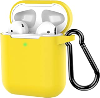 Coffea Protective Silicone Case with Keychain for Apple AirPods 2 (Yellow)