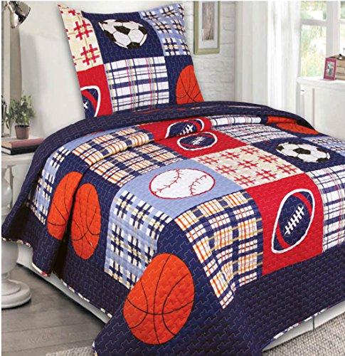 Elegant Home Multicolor Blue Red White Orange Patchwork Sports Basketball Football Baseball Soccer Design 2 Piece Coverlet Bedspread Quilt for Kids Teens Boys Twin Size # 26