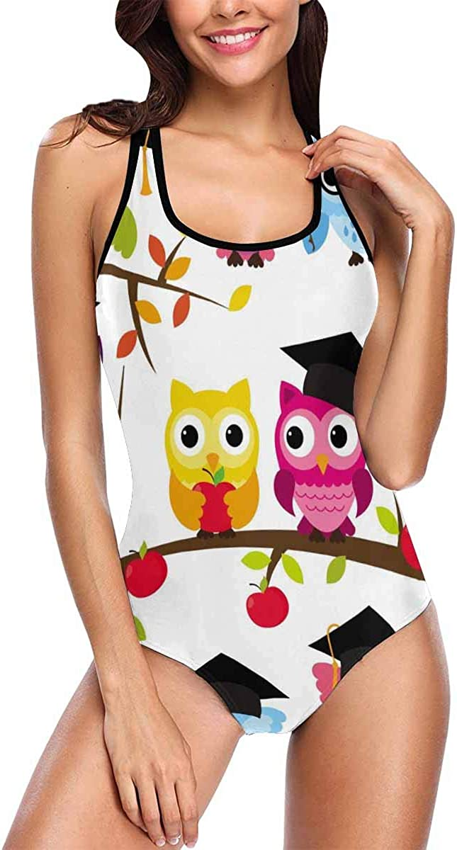 InterestPrint School or Graduation Themed Owls Women Tank Top One Piece Swimsuits Summer Beach Bathing Suits : Clothing, Shoes & Jewelry
