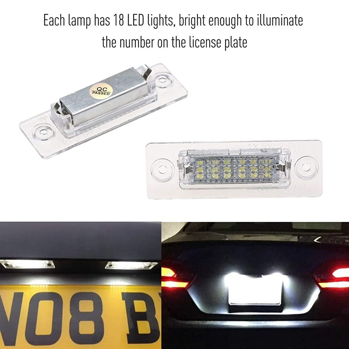 Alina-Shops - LED License Plate Lamp Car License Number Tag Lights for VW Caddy Touran Passat Jetta