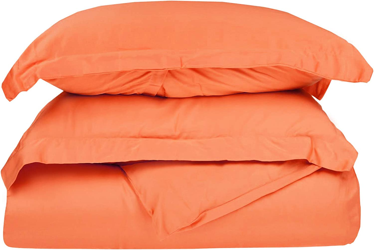 Superior 100% Premium Combed Cotton, 300 Thread Count 3 Piece Duvet Cover Set with 2 Pillow Shams, Single Ply Cotton, Soft and Luxurious Bedding Sets - Full Queen Duvet Cover, Coral