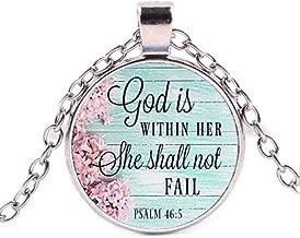 Faithful Charm Necklace, God is Within her She Shall not Fail, Psalms Charm