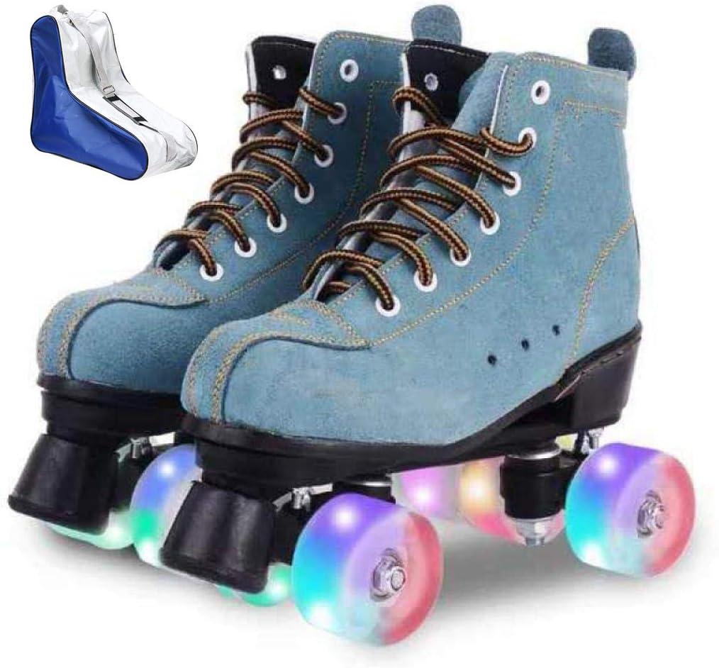 Roller Skates for Women Men High-top Roller Skates Four Wheels Roller Skates Shiny Roller Skates for Girls Boys with Shoes Bag