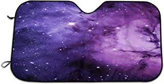 Sunshade Shining Starry Sky Cloud Blue and Purple Windshield Shade Heat Resist & UV Rays Protect Car Window Shade Thicken Aluminum Sunshield Cover Durable Auto Accessories for SUVs Camper RVs