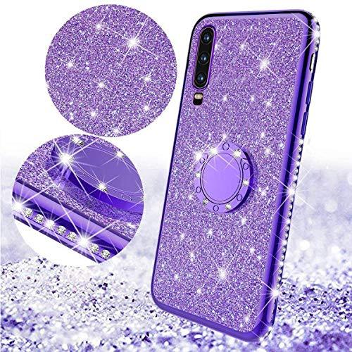 Glitzer Silikon Hülle für Huawei Y6 2019 Überzug TPU Bling Glitzer Strass Diamant Schutzhülle mit 360 Grad Ring Ständer Flex Silikon Case Cover Etui Handyhülle für Huawei Y6 2019,Plating TPU Purple