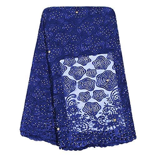 Unbekannt Spitzengewebe African Schnürsenkel Französisch Tüll for Frauen Brautkleid Designer Steine Stickerei-Spitze-Gewebe (Color : ROYAL Blue, Size : 5YARDS)