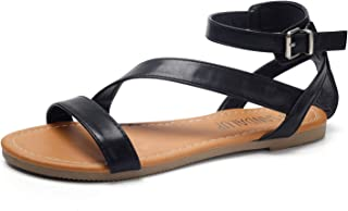Flat Sandals with Oblique Band Ankle Strap for Women