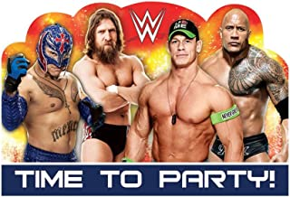 amscan Grand Slammin' WWE Birthday Party Postcard Invitation Cards Supply (8 Pack), 4 1/4