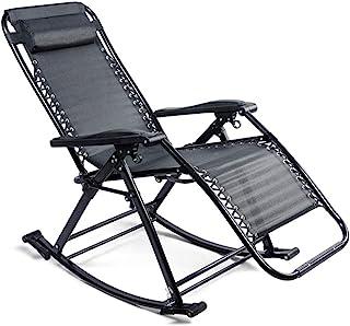 U Yoo - Tumbona plegable 2 en 1 - Sillón de balancín para jardín de relax ajustable para salón, dormitorio, terraza, carga máxima 150 kg, color negro