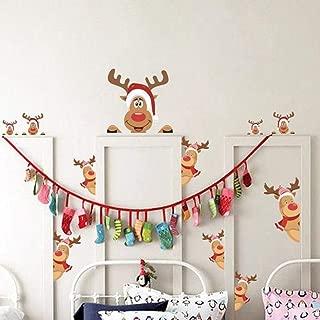 Christmas Elk Stickers Set of 16, Cute Funny Fridge Stickers Refrigerator Stickers Holiday Christmas Decorations for Fridge, Garage, Office Cabinets, Door, Windows (Christmas Elk 2Pack)