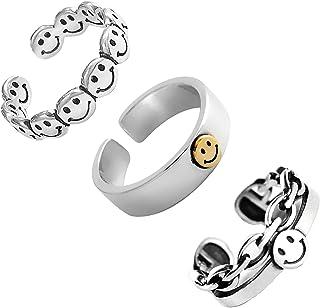 HUASAI خاتم وجه مبتسم فضة خواتم وجه مبتسم للنساء سعيد فانكي خواتم قابل للتعديل مفتوحة مفصل مجموعة خاتم