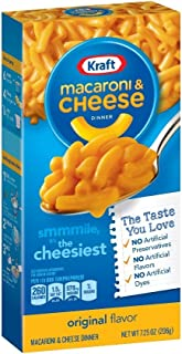 KRAFT Original Macaroni & Cheese Dinner, 7.25 oz. Box | No Artificial Preservatives, No Artificial Flavors, No Artificial Dyes | Cheesy, Easy Dinner for Kids and Adults | Pantry Stable & Shelf Stable