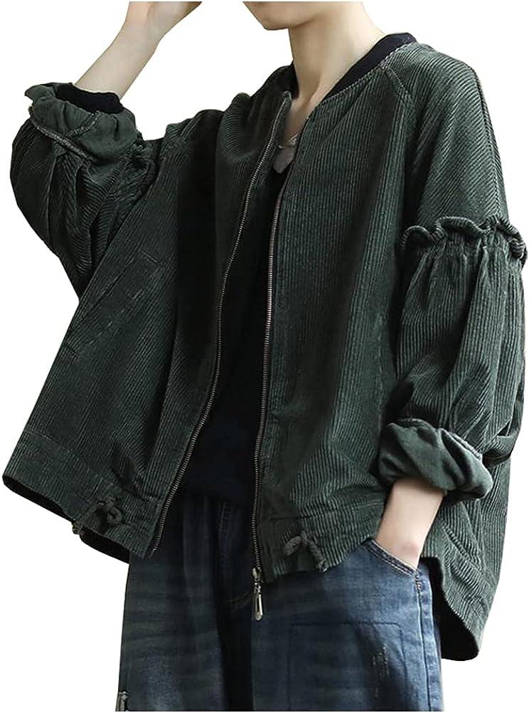 SCOFEEL Women's Oversize Puff Sleeves Zipper Up Drawstring Solid Casual Corduroy Jackets Coat