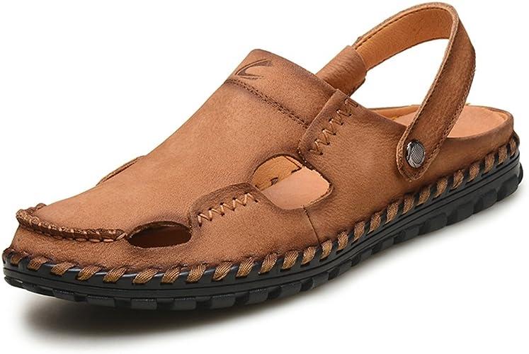 ZHANGRONG- Hommes Sandales en Cuir Fermé Toe Chaussures Confortables Plage Plage D'été en Plein Air Chaussures (Couleur   A, Taille   EU43 UK9 CN44)