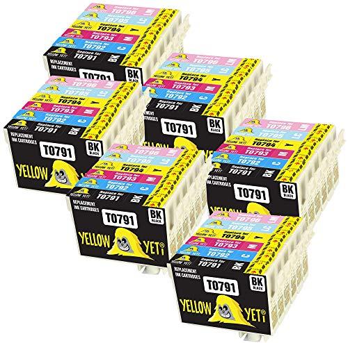 Yellow Yeti Ersatz für Epson T0791 T0792 T0793 T0794 T0795 T0796 36 Druckerpatronen kompatibel für Epson Stylus Photo 1500W 1400 P50 PX720WD PX700W PX800FW PX810FW PX820FWD PX830FWD PX650 PX710W