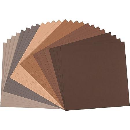 Vaessen creative 2923-007 Florence Papier Cartonné, Couleurs Bruns, 216g, 30,5 x 30,5 cm, 24 Feuilles, Surface Texturée, pour Peindre, Scrapbooking et Plus, Multi