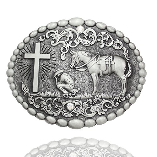 Q&Q Fashion Men Retro Silver Western Cowboy Prayer Cross Horse Oval Concho Scroll Belt Buckle