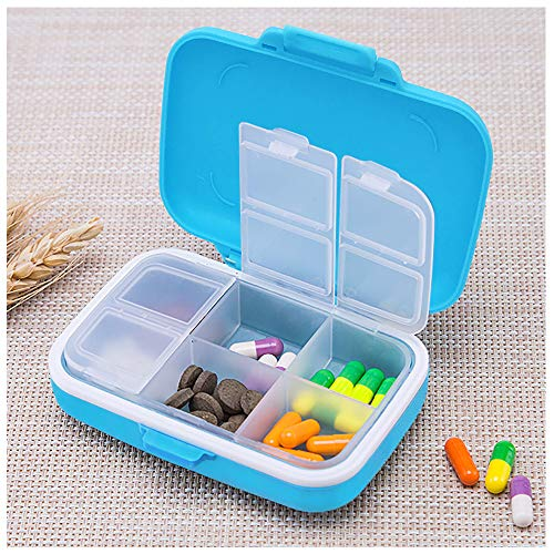 AIYONA Pill Box for Travel Vitamin Pill Organizer Sturdy Pill Case for Purse or Pocket Portable Pill Cases Food Grade Carry Case with Water-resistant 6 Compartments Bonus Pill Splitter (Baby Blue)