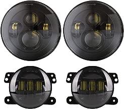 BICYACO DOT Approved 90W 7 Inch Round Cree LED Headlight + 4 Inch LED Fog Lights High Low Beam for Jeep Wrangler 97-2017 JK TJ LJ JKU Rubicon Sahara-Black