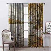 GloriaJohnson Landscape 99% Blackout Curtains Prague Charles Bridge and Old Town Czech Republic Riverside Scenic View with Swans for Bedroom- Kindergarten- Living Room W42 x L84 Inch Gold Grey