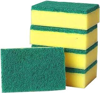 CAM2 キッチン スポンジ 油汚れ コゲ落とし 台所用スポンジ 5個セット 抗菌 (グリーン, 11*7*3cm 5個セット)