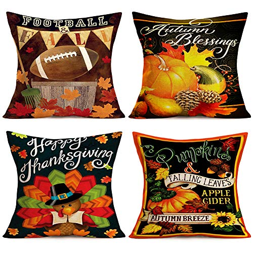 Doitely Autumn Blessings Falling Leaf Pumpkin Decorative Pillow Covers Happy Thankgiving Best Gift Cotton Linen Throw Pillow Covers 18x18 Inches for Home Sofa Bedroom Car Office Decor Set of 4