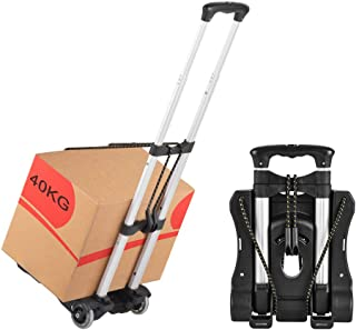 Hivexagon Folding Luggage Cart, Heavy Duty Travel Trolley 40kg/88lbs Load Capacity Lightweight & Durable for Luggage, Pers...