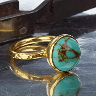Sterling Silver Dome Turquoise Stacking Ring By Omer Handmade 24k Gold Plated Turkish Jewelry