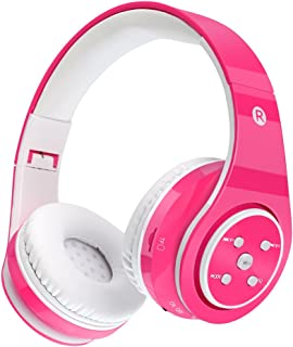 Kids Bluetooth Headphones Wireless/Wired Safe Volume Limited Headphones,Long Playing Time 7-9h,SD Card Slot,Stereo Sound,Hands Free Caall,Compatiable for Ipad Cellphone Pc Tablet(Pink)