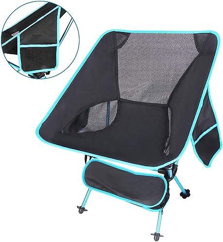 Auflyee Chaise de Camping Pliante Portable légère pour l'extérieur, randonnée, Pique-Nique, pêche, très résistante