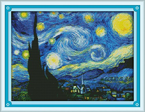 Maydear Cross Stitch Kits Stamped Full Range of Embroidery Starter Kits for Beginners DIY 11CT 3 Strands - Starry Night of Van Gogh 23×18(inch)