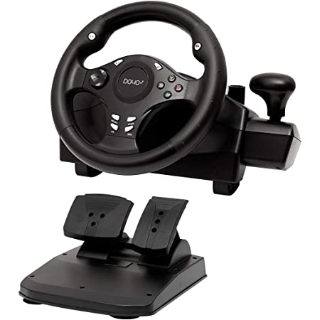 Gaming racing wheel 270 degree driving force steering wheel for racing game PC / XBOX ONE / XBOX 360/ PS4 / PS3 / Nintendo Switch / Android with pedals accelerator brake