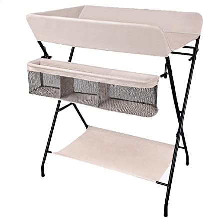 ZAQI Portable Baby Changing Diaper Table  Nursery Folding Newborn Dresser Massage Units for Small Space  0-2 Years Old  Color Beige