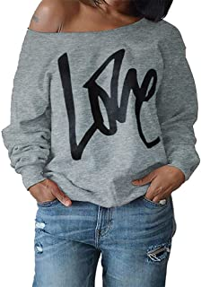 Women's Sweatshirt, FORUU Fashion Sexy Letter Long Sleeve Tops Blouse Pullover Strapless