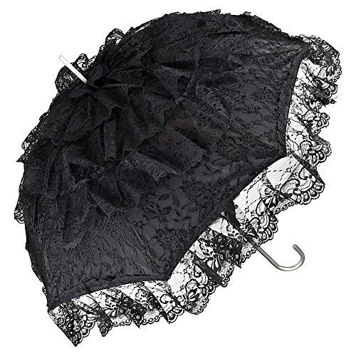 VON LILIENFELD Regenschirm Damen Sonnenschirm Brautschirm Hochzeitsschirm Melissa schwarz Rüschen