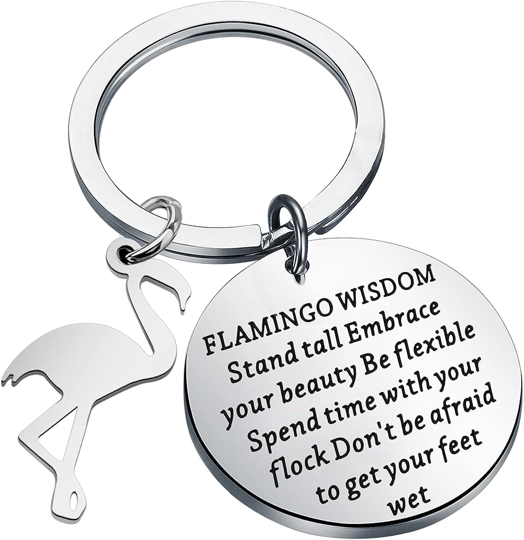 MAOFAED Flamingo Keychain Flamingo Inspirational Gift Flamingo Lover Gift Flamingo Wisdom